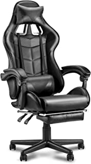 SOONTRANS Black Video Game Chairs, PU Leather Computer Chair with Full Armrest, Headrest Lumbar Support, Gaming Chair with...