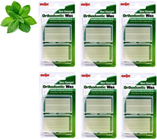 12 Clear Reclosable Case of Dental Orthodontics Wax - Relief Pain Discomfort of Dental Braces Partials and Dentures - Mint Flavored (6 Packs each pk has 2 case each case 5 strips - Total of 60 Strips)