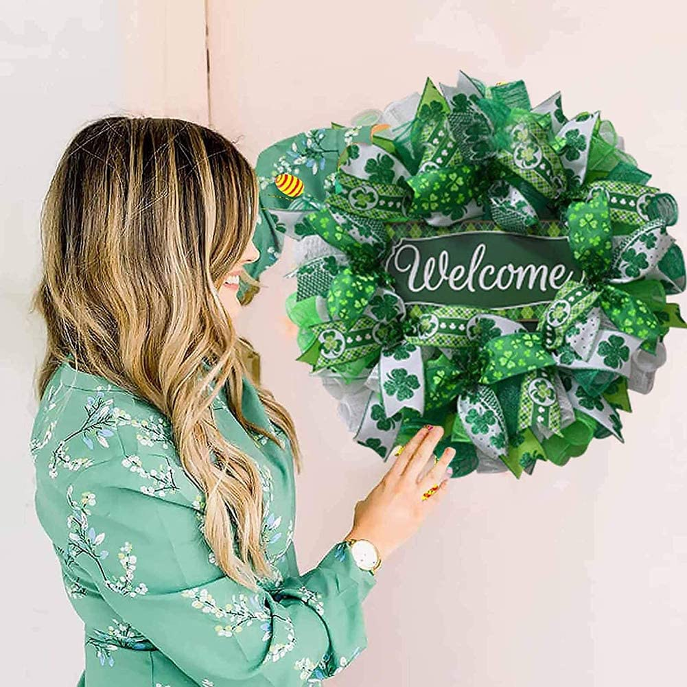 B Spring March Shamrock Hanging Ornaments for Party Farmhouse St.Patricks Day Wreath for Front Door Decorations 45cm St Patricks Day Leprechaun Garland Clover