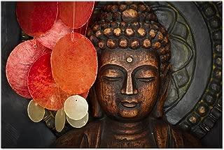 Buddha Canvas Wall Art Wood Buddha Statue Canvas Prints Keep inner Peaceful Buddha Artwork for Living Room Yoga Room