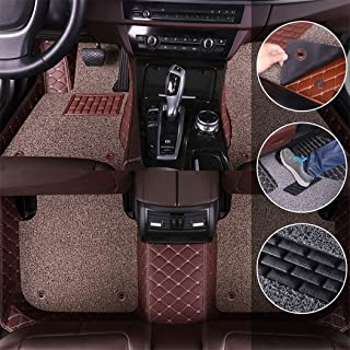 Custom Car Floor Mats for Toyota Corolla E140/E150 2007-2017 Full Surrounded Protection Luxury Leather Material Wear Resistant Car mat Carpet Liners Coffee and Beige Coffee