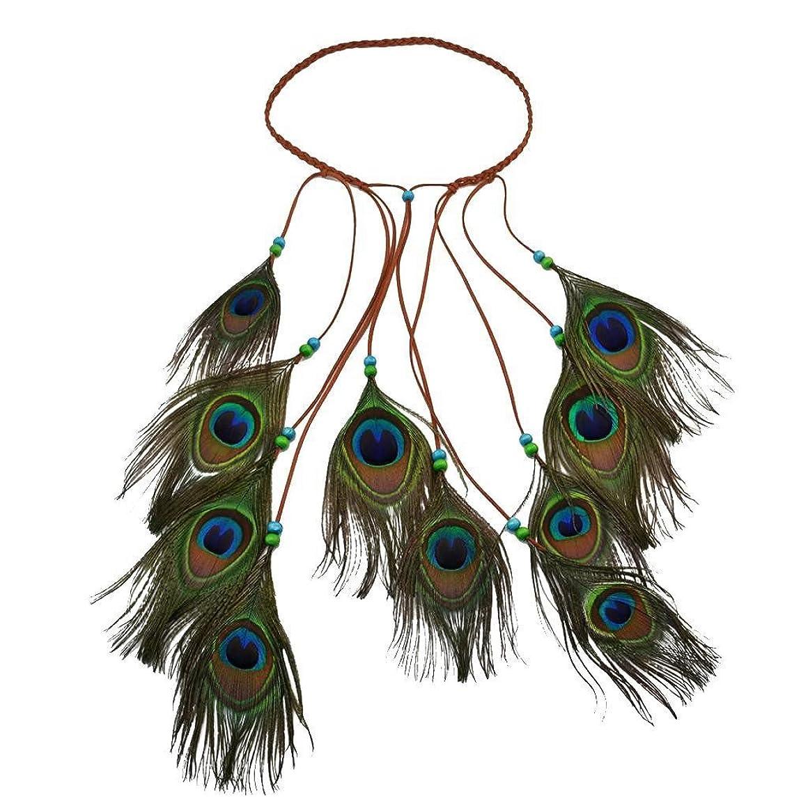 説明放課後重要ACAMPTAR 女性用民族風インディアンボヘミアンスタイルのヘアバンド、髪飾りアクセサリー