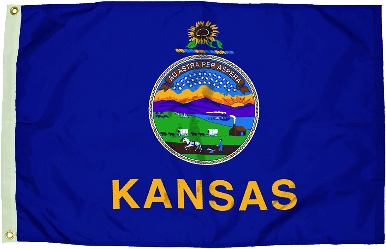 Independence Flag Nylon Kansas Flag, 3 x 5'