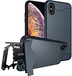Olixar for iPhone Xs Tough Case - with 26 in 1 Survival Multi Tool - Protective Armour Cover - Credit Card Slot & Built in Stand - X-Ranger - Marine Blue