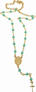 LESLIE BOULES Rosary Green Beads Catholic Cross Necklace 16 to 19 Inches Length Adjustable Guadalupe Medal