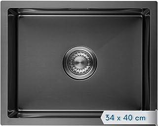 LOMAZOO Spüle Schwarz | Spülbecken Edelstahl | Schwarze Küchenspüle Einbauspüle | Waschbecken Küche | 34 x 40 cm