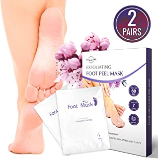 VILLINI Peel Off Mask - Deep Exfoliating Foot Peel Mask for Women and Men - Foot Peeling Mask - Calluses and Rough Dead Skin Remover - Wow-Effect after One Use - 2 Pairs