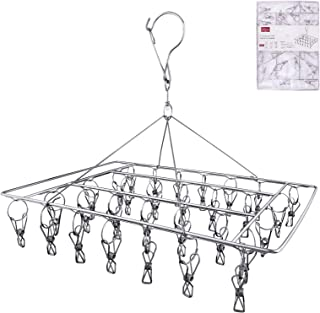 Rosefray 30 Clips Metal Clothespins, Stainless Steel Clothes Drying Rack, Hats Rack, Portable Metal Hanger, Great for Quick Hand Wash of Delicates