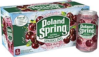 Sparkling Poland Spring Brand Natural Spring Water, Black Cherry, 12-Ounce Can (Pack of 8)