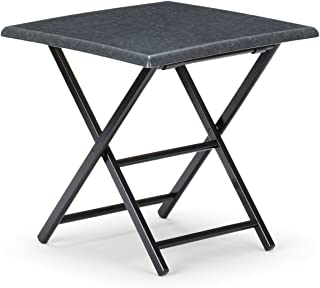 Telescope Casual 24-Inch Square Wood Accessory Table, 24-Inch Height, Black Base with Graphite Talc Top
