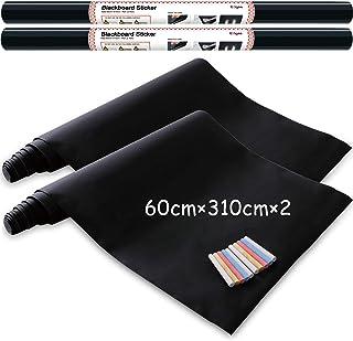 Vinilo Pizarra Negra- Pizarra Adhesiva de Papel Adherente - 60cm x 310cm pack de 2 incluye 10 tizas