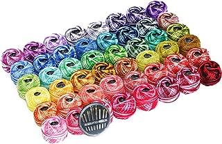 48 Cotton Crochet thread set Ball 5g per Balls Rainbow of Size 8 Perle pear and free 30 golden needles 48Balls
