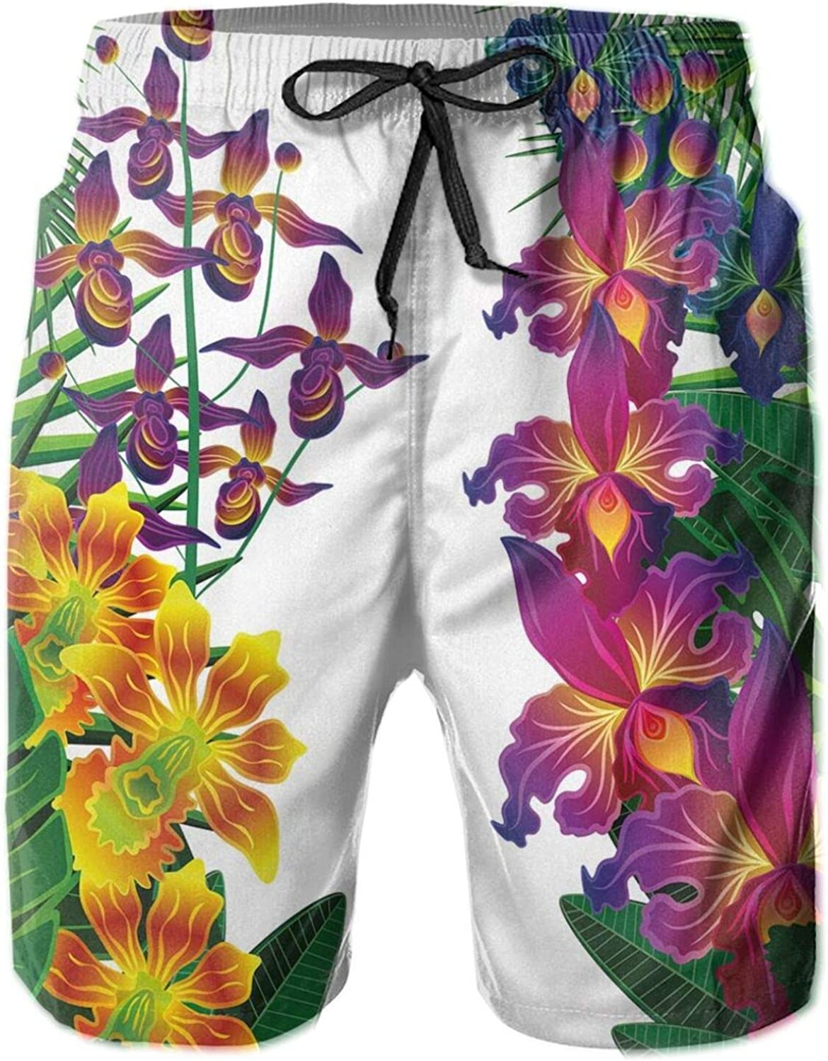 Flower Kahili Ginger Bamboo and Orchid Vivid Colored Tropic Accents Mens Swim Shorts Casual Workout Short Pants Drawstring Beach Shorts,M