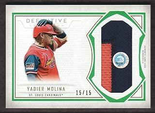 2019 Topps Definitive Collection Baseball Jumbo JERSEY Green #DJRC-YMO Yadier Molina 15/15