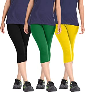 FABLAB ¾ Capri Leggings for Women Girls Ladies Western wear Combo Pack of 3