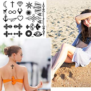 Fake Black Tiny Temporary Tattoo Non-Toxic Ink No Pain Low Cost Waterproof Durable Body Art Stickers 20 Sheets For Men Women Kid Hands Neck Wrist Cover
