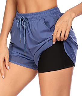 COOrun 2 in 1 Running Shorts for Women Workout Athletic Yoga Shorts with Side Pockets S-XXL