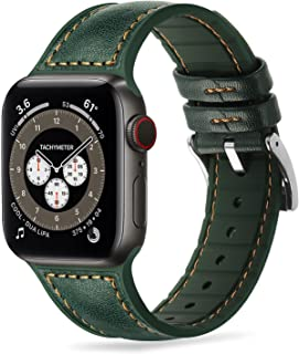 Tasikar Bands Compatible with Apple Watch Band 42mm 44mm, Genuine Leather with Soft Silicone Hybrid Design Replacement Str...