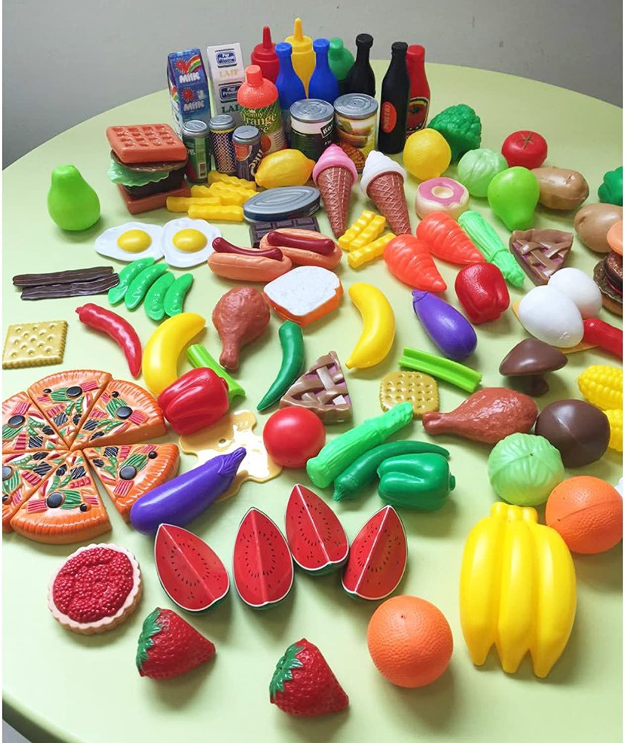 OUYAWEI 120 Pcs Plastic Food Fruits Vegetables Toy Set Kitchen Pretend Play Toy for Boys and Girls