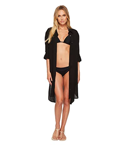 Seafolly Crinkle Twill Beach Shirt (Black) Women