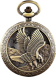LIHEYE Vintage Eagle Arabic Numerals Half Hunter Necklace Pendants Quartz Bronze Pocket Watch for Men Women Kids Xmas Gift