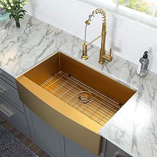 36 Farmhouse Sink Gold - Lordear 36 inch Kitchen Sink Apron Front 16 Gauge Matte Gold Stainless Steel Deep Single Bowl Farm Sink Basin