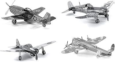 Set of 4 Metal Earth 3D Laser Cut Plane Models: Avro Lancaster Bomber, Mitsubishi Zero, F4U Corsair, P-51 Mustang