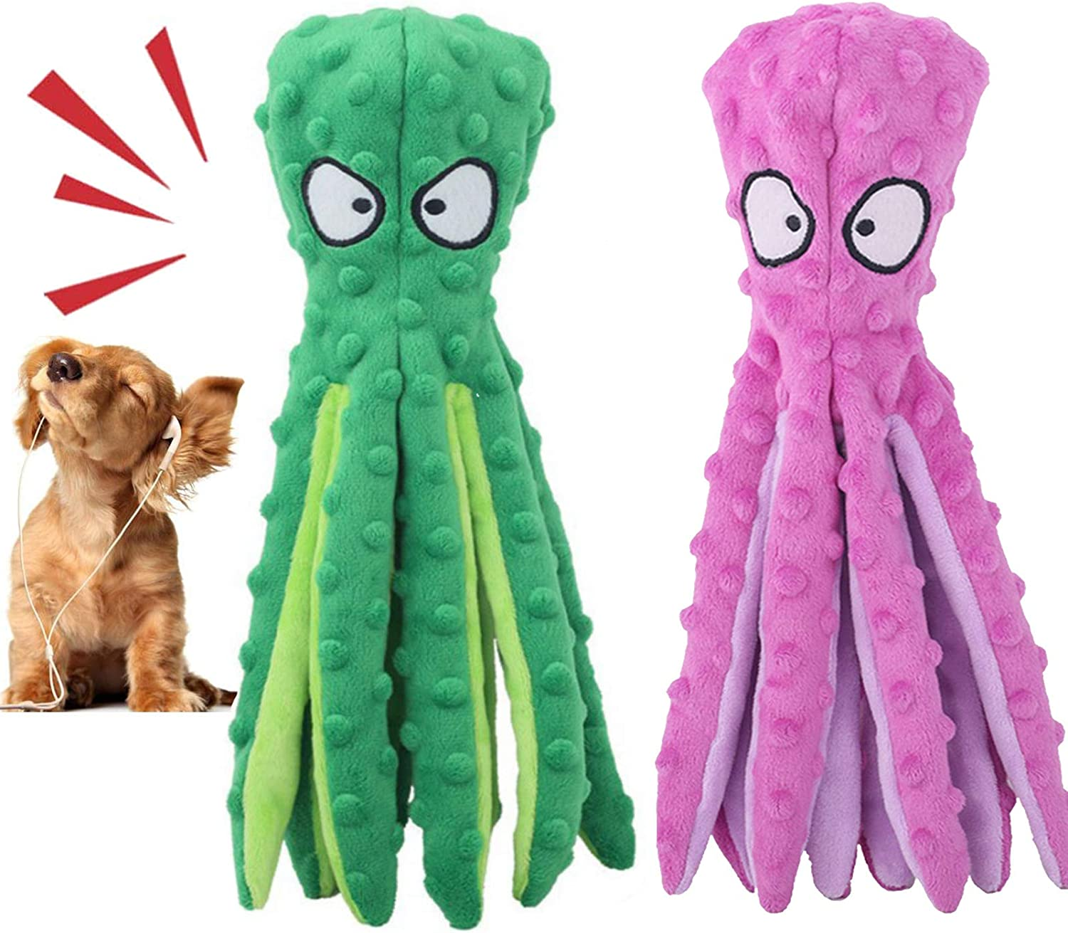 Lifeunion mart Dog Squeaky Toys Octopus Plush No Indianapolis Mall Crinkle Stuffing