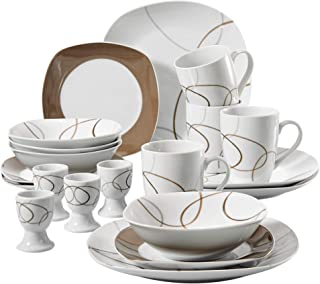 VEWEET 20-Piece Porcelain Dinnerware Sets Brown Lines Patterns Porcelain Plate Sets with Dinner Plate, Dessert Plate, Bowl, Mug, Egg Cup, Service for 4 (Nikita Series)