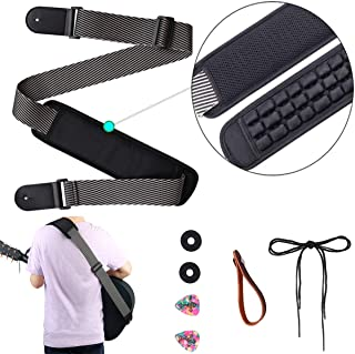 Adjustable Guitar Strap Replacement Shoulder Strap Genuine Leather Ends Electric Guitar Strap with 3.35in Wide Pad for Bass Electric Acoustic Guitar