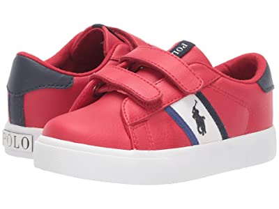 Polo Ralph Lauren Kids Geoff II EZ (Toddler) (Red Tumbled/White/Navy/Royal/Navy Pony Player) Boy