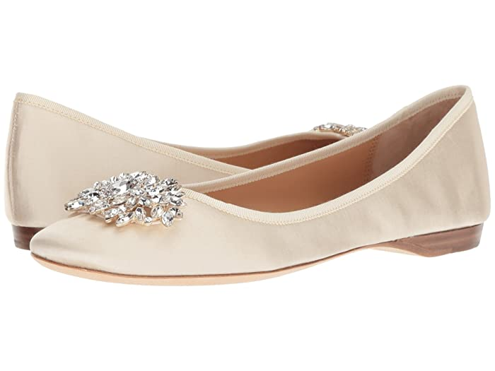 Victorian Wedding Dresses, Shoes, Accessories Badgley Mischka Pippa Ivory Satin Womens Flat Shoes $166.50 AT vintagedancer.com
