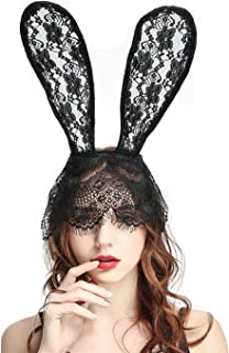 Sexy Lace Bunny Ears Headband Black Cat Ears Headband with Veil for Costume Party