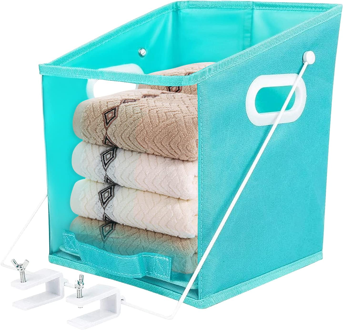 PAPALALETY Closet Caddy Pull Down Shelf Clothes Storage Box Rotatable Retrieve Closet Storage with Carry Handle Foldable Closet Organizer, Clear Window for Clothes, Blankets, Closets, Bedrooms
