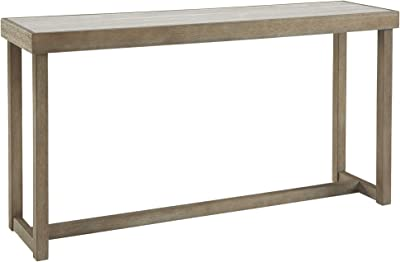 Benjara Faux Marble Top Sofa Table with Wooden Sled Base, Brown