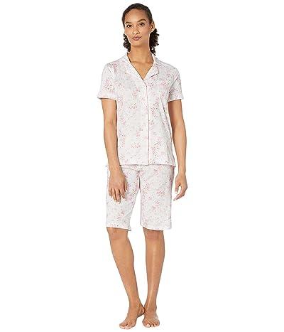 LAUREN Ralph Lauren Cotton Rayon Jersey Knit Short Sleeve Dolman Notch Collar Bermuda Pajama Set (Pink Floral) Women