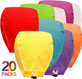 BATTIFE Sky Lanterns Chinese Biodegradable Paper Bulk Assortment Romantic Night Blue Red and Other Mixed Colors for Party Sea Beach Vacation Holiday 20