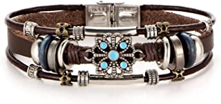 sensitives 2 Style Vintage Flower Bracelets & Bangle Boho Multiple Layers Leather Bracelet Handmade Female Punk Jewelry for Women Man