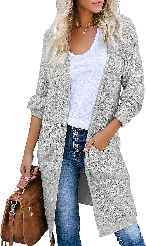 LookbookStore Women's Casual Open Front Sweater Cardigan Soft Knit Long Outerwear