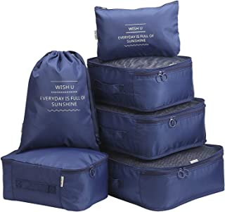 Packing Cubes Luggage Organisers TravelClothing Laundry Bag Toiletry Bag and Electronics Accessories Pouch 6 Set (Navy-6pcs)