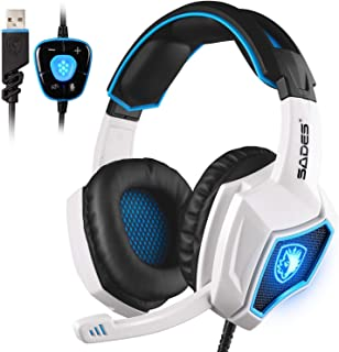 SADES Spirit Wolf USB 7.1 Computer Gaming Headset Wired Stereo Sound Headphone with Mic Volume Control LED Light for PC Gamers (Black White)