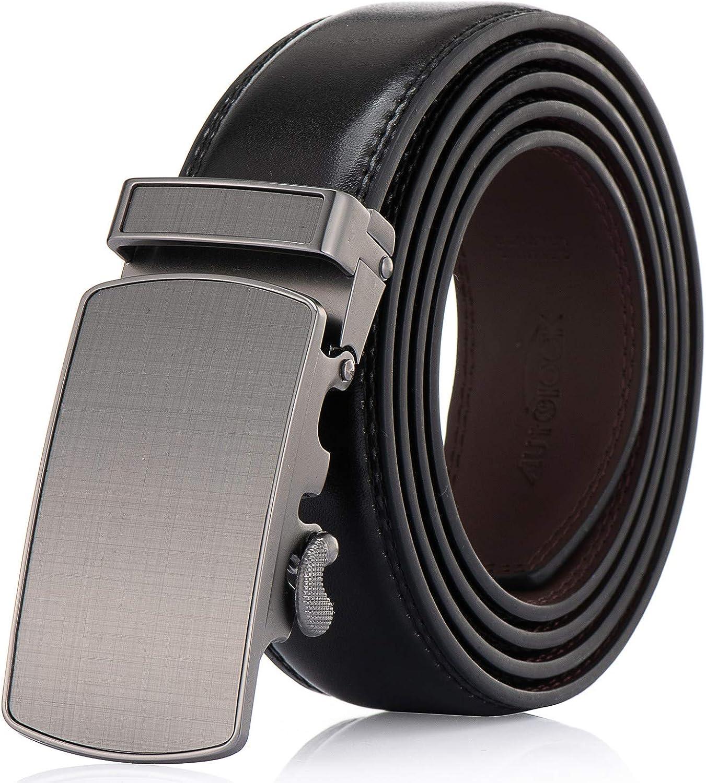 Men's Belt - Autolock Leather Ratchet Dress Belt for Men With Automatic Buckle - Trim to Fit