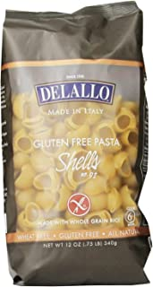 4 Packs of DELALLO GLUTEN FREE PASTA Shells 4 x 12 Oz = 48 Oz by DeLallo