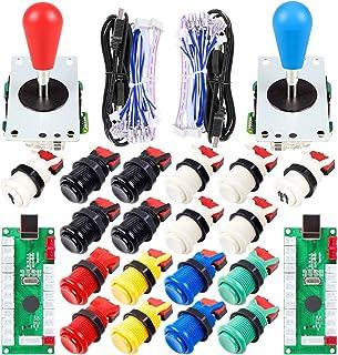 2 Piezas de Arcade Joystick para bricolaje codificador USB + 2X Ellipse Oval Joystick Handle 18x Botones estilo americano ...