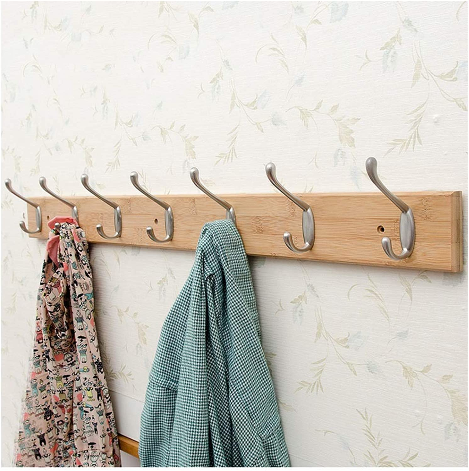 JIANFEI Wall Mounted Coat Rack Hanger Metal Hook Up Solid Wood Frame Stable,2 Colours 5 Size (color   Brass, Size   85x7.5x1.5cm)