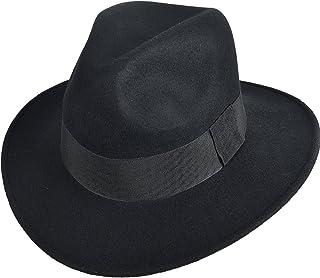 FORBUSITE 中折れハット リボン付きのフェルト帽子 つば広 ユニセックスのウールハット 無地 B5030