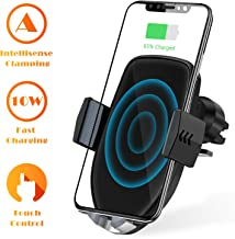 U-ROK Wireless Car Charger Mount, Auto Clamping 7.5W /10W Qi Fast Charging Car Phone Holder, Suction Cup and Air Vent Kit Compatible with iPhone Xs/Xs Max/XR/X/8/8 Plus, Samsung Galaxy S10/S9/S8 (Black + Suction Cup)