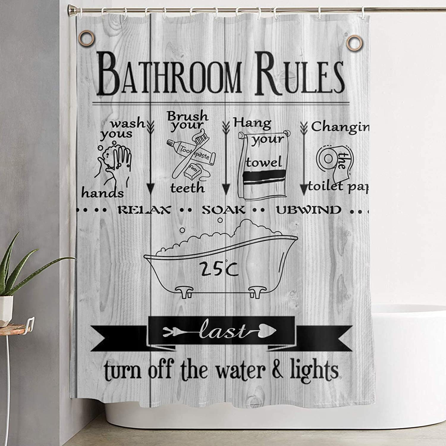UOER Bathroon Rules New product Shower Limited Special Price Curtain Poly Grain Wood White Rustic