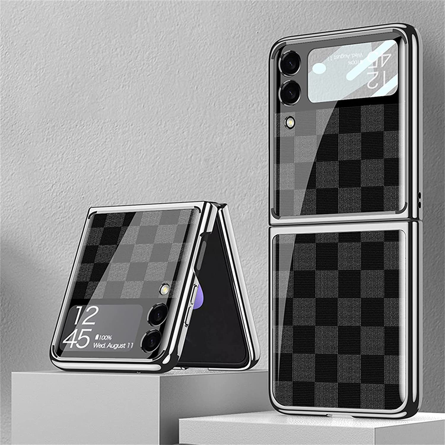 Suitable for Samsung Galaxy Z Flip 3 5G Luxury Phone Case, Tempered Glass Bumper Flip Protector for Galaxy Z Flip 3 5G 2021 (Checkerboard,A)