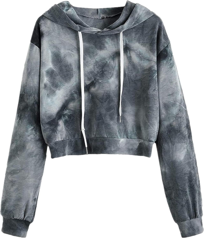 TAYBAGH Crop Hoodies for Women Casual Tie Dye Print Drawstring Sweatshirts Pullover Long Sleeve Crop Tops for Teen Girls